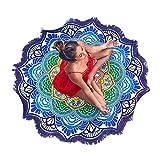Grande redondo de flor de loto Mandala Tapestry mantel toalla de playa y manta flecos borla de playa manta esterilla de yoga