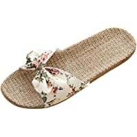 Ciabatte Lino Donna Fiori Con Fiocco Casuale Spiaggia Tacco Piatte Pantofole Donne Antiscivolo Moda Estiva Sandali…