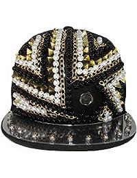 LOCOMO Black Pentagon Spike Stud Hedgehog Eyelet Baseball Cap FFH251