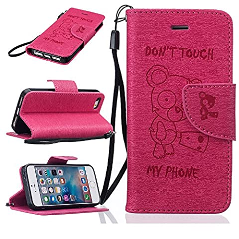 BONROY® iPhone 5 5S 5SE Hülle ,Lustige nette Teddybär Folio