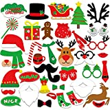 Kuuqa 39 Pcs Christmas Photo Booth Props Kit Merry Chiristmas Party Decoration Supplies