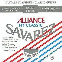 Savarez Cuerdas para Guitarra Clásica Concert Alliance HT 540ARJ juego tensiones mezcladas rojo/azul (standard/alta)