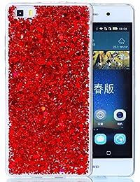 "Huawei P8 Lite Coque Silicone, Coque Huawei P8 Lite, Housse Huawei P8 Lite, Nnopbeclik® Soft/Doux Transparente ""paillette brillant"" Backcover Housse ""ALE-L21"" (5.0 Pouces) Antiglisse Anti-Scratch Etui ""NOT FOR P8"" - [Rouge]"