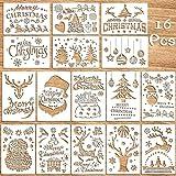 U&X 16 STÜCKE Weihnachten Schablonen Vorlage für Malerei auf Holz Wiederverwendbare Bodenfliesen Schablone für Weihnachtsdekor Stoff Leinwand Wandmalerei Vorlagen (7x10 Zoll)