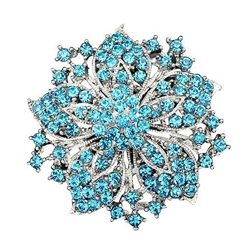 Contever® Gioielli di Moda Fantasia Strass Bling Cristallo Bauhinia Fiore Grappolo Spilla Perno -- Pavone Blu - Bling Fiore