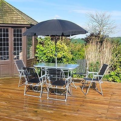 8Pc Garden Furniture Set Back Outdoor Patio Folding Dining Set Parasol 6 Seater