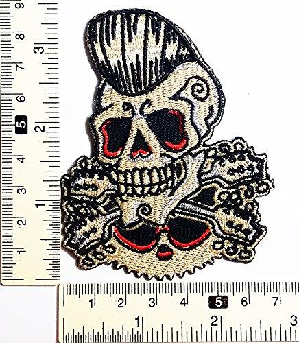 Rockabilly cráneo fantasma guitarra Cruz Punk rocas N Roll Patch...