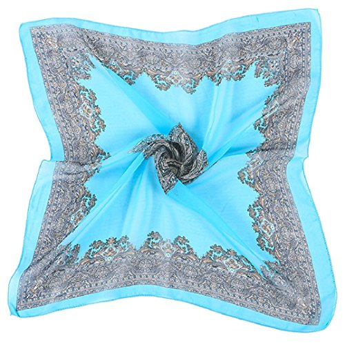 Transer ® Femelle Écharpes, Mode féminine Imprimé Grand carré en mousseline de soie col écharpe Châle chaud en hiver Bleu
