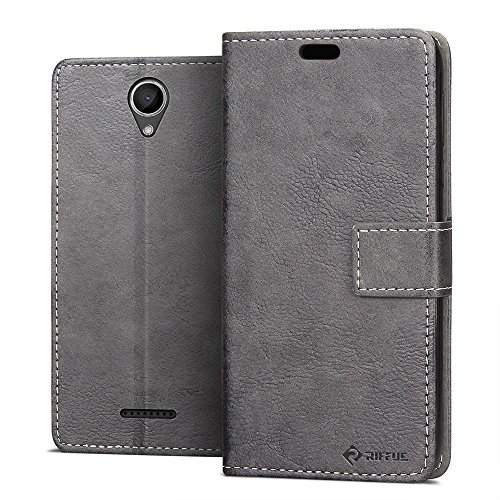 Riffue Wiko Harry Hülle, Retro Style Vintage PU Leder + TPU Innenflip Cover für Wiko Harry (5 Zoll) mit Kickstand und Card Slots - Gery