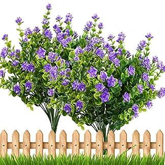 TOOGOO 4 piezas de Plantas Falsas Artificiales Arbustos verdes Ramas de eucalipto con la flor del aliento del bebe purpura Decoracion de Arbustos