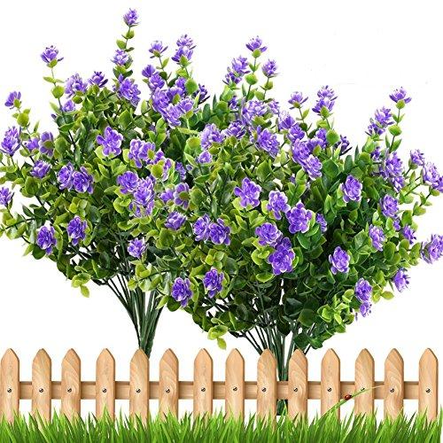 SODIAL 4 pz piante finte pianta verde arbusti rami di eucalipto con viola del bambino respiro fiore di plastica cespugli casa ufficio giardino patio cortile coperta decorazione esterna