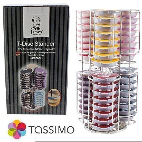 Genuino Tassimo Bosch Disque-T 48 La Gélule Porte-Niveau 2 Chrome Rellenable Tour (Antidérapant Base 360)