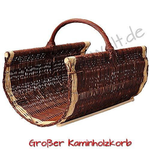 Kaminholzkorb aus Weide Kaminkorb Holzkorb mit Jute Weidenkorb Holz Kamin Kaminholz (Dunkelbraun, Typ 5: (L) 60 x (B) 40 x (H) 30/49 cm)