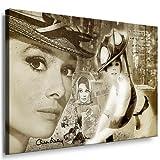 Bild auf Leinwand `Audrey Hepburn` 100x70cm k. Poster ! Bild fertig auf Keilrahmen ! Pop Art Gemälde Kunstdrucke, Wandbilder, Bilder zur Dekoration - Deko. Film / Movie / Tv Stars Kunstdrucke