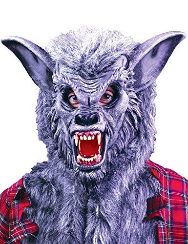 Deluxe Werwolf Halloween Maske grau (Werwolf Deluxe Maske)