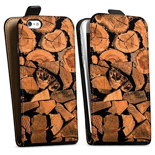 Apple iPhone X Silikon Hülle Case Schutzhülle Holz Look Baum Holzscheit Downflip Tasche schwarz
