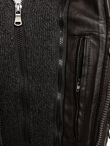OZONEE Herren Übergangsjacke Jacke Bikerjacke Kunstlederjacke Sweats Winterjacke Sweatjacke Faux Leder Frühlingsjacke J.STYLE MIX Braun_G-RAG-0065
