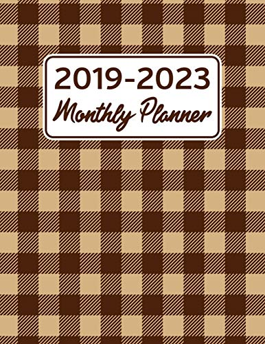 2019-2023 Monthly Planner: Plaid Mocha Brown Five Year Calendar and Notebook 8.5x11 144 Pages -
