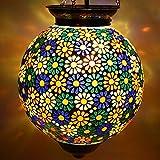 #5: Earthen Metal Handcrafted Multicoloured Flower Design Glass Hanging Light