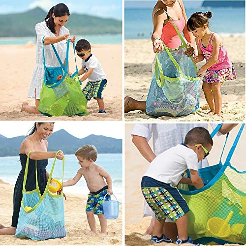 Togather® Extra grande familia malla playa bolsa Tote mochila juguetes toallas arena-azul