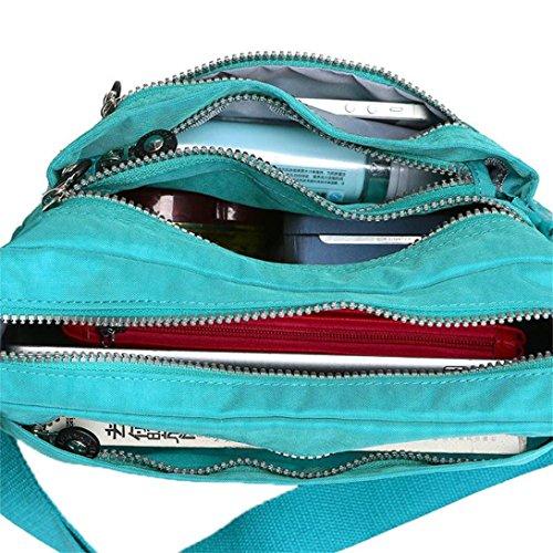 Transer Women Shoulder Bag Popular Girls Hand Bag Ladies Canvas Handbag, Borsa a spalla donna 27cm(L)*21(H)*13cm(W), Black (Multicolore) - YHL60716185 Sky Blue