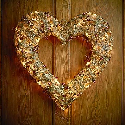 Gardman Christmas Pre-lit Rattan Berry Heart Wreath Xmas Decoration LED Lights