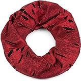 styleBREAKER Loop Schal im Destroyed Vintage used Look, Schlauchschal, Tuch, Unisex 01018078, Größe:Breit, Farbe:Bordeaux-Rot-Schwarz