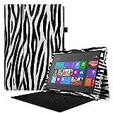 Fintie Microsoft Surface Pro 3 Hülle Case - Hochwertige Kunstleder Slim Fit Stand Tasche Schutzhülle Etui Cover mit Stylus-Halterung für Microsoft Surface Pro 3 12 Zoll Tablet, Zebra Schwarz