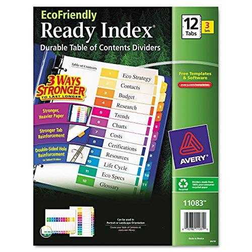 Avery Umweltfreundlich bereit Index Inhaltsverzeichnis Teiler, 12-tab, 3Sets (11083)