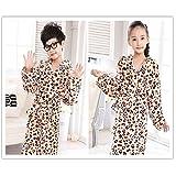 BOBOJW Kinderkinderjungen-Mädchen-Leopard-Muster-Flanell-Bademantel-mit Kapuze Verdickte Bademantel-Nachtwäsche-Nachthemd-Pyjamas
