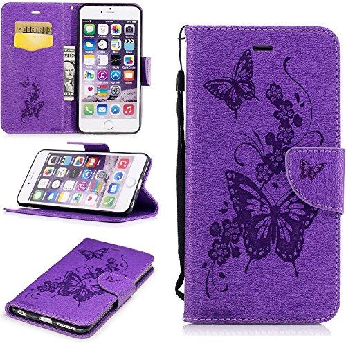 Linvei iPhone 6 Plus(5.5Zoll)Hülle,(Schmetterling Muster )PU Leder Tasche Schutzhülle Case Magnetverschluss Telefon-Kasten Handyhülle Standfunktion mit Credit Card Slots-Lila