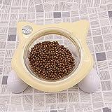 LJYASD Ciotola Modellare Aumentare Bevanda Ripiano Piatti Inclinato Acqua Utensili Animali Domestici Spondilosi Cervicale Prevenzione Resistenza Addensare Cane Gatto,Yellow+Clear