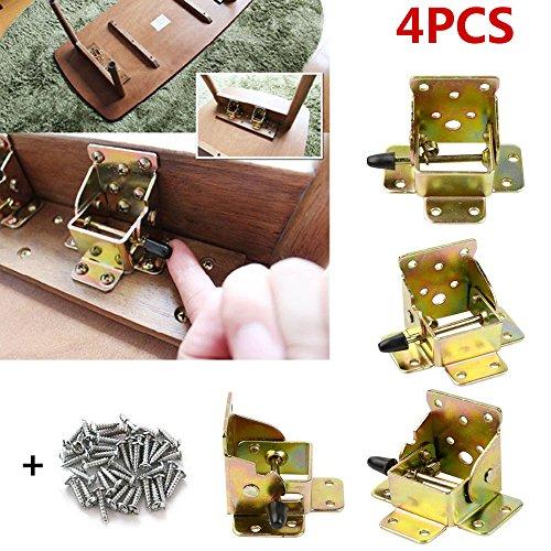 TopDirect 4PCS Klappbeschlag Tisch-Klappenbeschlag klappbar für Tischbeine und Bänke, Stahl verzinkt, Klappkonsole für Tisch-Füße 75x62x55mm (Klapptisch Halterung)