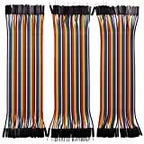 Longruner 120pcs Breadboard Ribbon Cables for Arduino Raspberry Pi 3 40pin Male to Female, 40pin Male to Male, 40pin Female to Female Breadboard Jumper Wires Dupont Wire Kit LK45