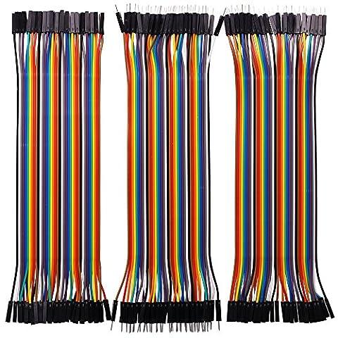 Longruner 120pcs Breadboard Câbles ruban pour Arduino Raspberry Pi 340pin mâle vers femelle, 40pin mâle vers mâle, 40pin femelle vers femelle Breadboard Jumper fils Dupont fils kit Lk45