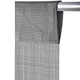 Fadenvorhang mit Stangendurchzug, individuell kürzbare Gardine, moderner und eleganter Dekorationsartikel in vielen Farben und Ausführungen (B90xL250 cm/grau - silbergrau)