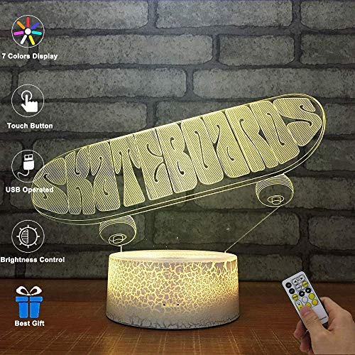 3D Visuelle Lampe Optische Täuschung LED Nachtlicht, Erstaunliche 7 Farben Skateboard Form Berührungsempfindlichen Schalter Lampen Mit Acryl Flach, USB-Gebühr Für Inneneinrichtungen