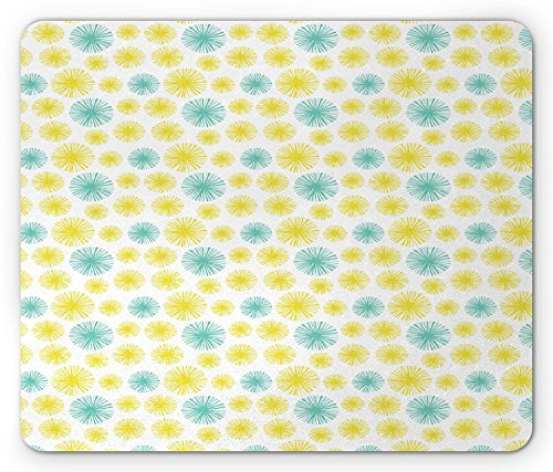 Vintage Mouse Pad, Colorful Dandelion Inspired Circular Fringe-Like Shapes Illustration, Standard Size Rectangle Non-Slip Rubber Mousepad, Pale Blue and Yellow 9.8 X 11.8 inch
