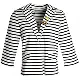 Oui Three Quarter Sleeve Striped Blazer 10 White