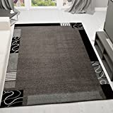 frisee pelo corto Alfombra Moderna, en gris negro, diseño con borde–Cenefa Certificado Öko Tex, medidas: 120x 170cm