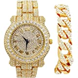 Bling-ed Out argento rotondo di lusso Mens Watch w/Bling-ed Out braccialetto - L0504B