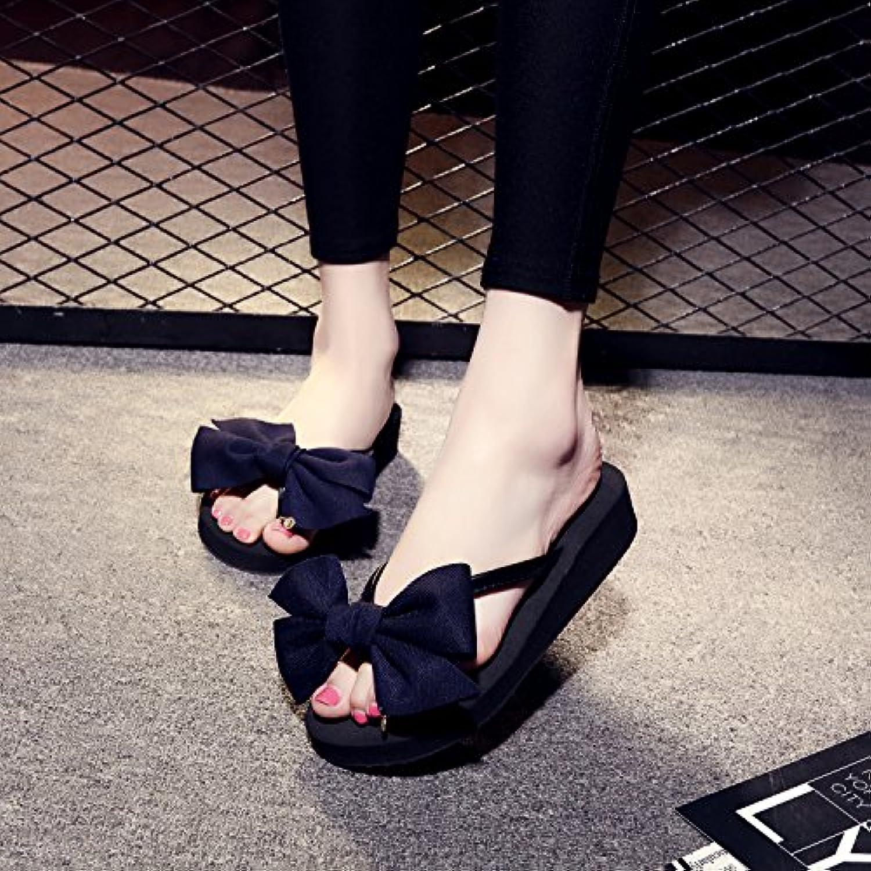 228df33beec FLYRCX Summer flip flops flops flops summer beach antiskid bow tie sandals  Parent B074W9X4D1 ba413a