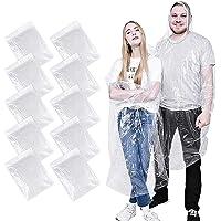 ALBOYI 10 Pack Disposable Rain Ponchos, Waterproof Rain Poncho for Women & Men, Adult Emergency Raincoats with…