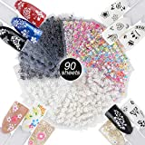 90 Fogli Adesivi Unghie Adesivo 3D Nail Stickers Adesivi Floreali Decalcomanie Decorazione Unghie Fai da Te Attrezzatura Arte Unghie Autoadesivi Colore Misto