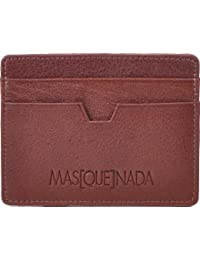 MASQUENADA, Unisex, Kartenetui, Kartenmäppchen, Portemonnaie, Geldbörse, Geldbeutel, Echt Leder, Braun, Mittelbraun, Cognac 10,5x8x0,5cm (B x H x T)