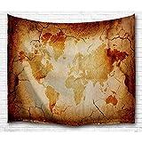 BEWAVE wandteppich Weltkarte Hängende große antike Polyester-Wanddekor für Schlafzimmer (Retro Weltkarte, 153 x 130 cm)