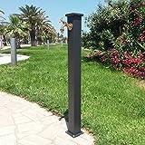 Fonderia Bongiovanni Brunnen A Säule aus Stahl mit Wasserhahn für Außen Haus Garten Typ Olimpia Farbe Grau Gusseisen mit Wasserhahn 303aus Messing bronziert
