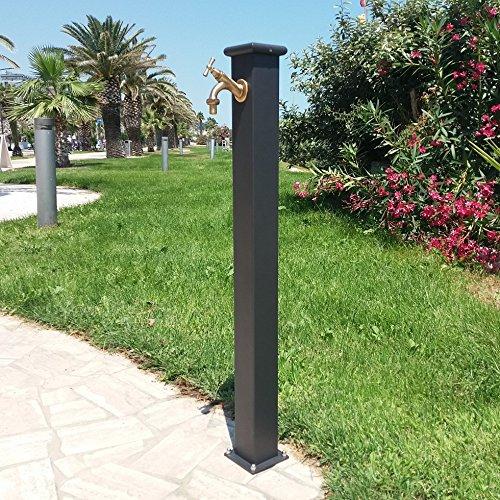 Fontana a colonna in acciaio con rubinetto per esterno casa giardino modello olimpia colore grigio ghisa completa di rubinetto 303 in ottone bronzato