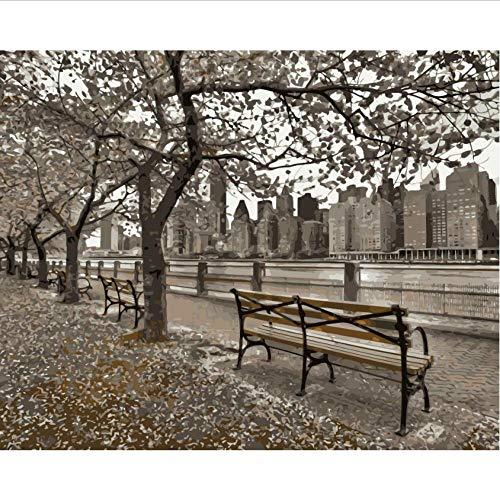 Bank New York (Hyllbb New York City Bank Flüsse Malen Nach Zahlen Malen Leinwand Für Wohnkultur-40 * 50Cm,With Frame)