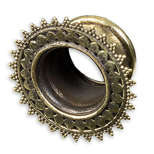 D2 12 (viva-adorno® 1 Stück Flesh Tunnel Plug Messing Vintage Look Sonne Südostasien Style Größe 8 - 22mm Z434.D2, 12mm)